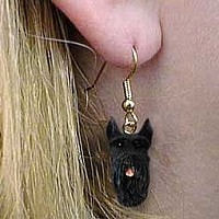Schnauzer Giant Black Earrings Hanging