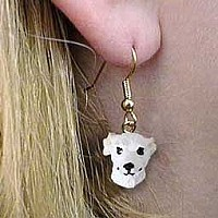 Whippet White Earrings Hanging