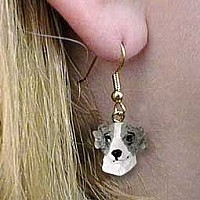 Whippet Gray & White Earrings Hanging
