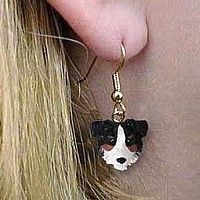Australian Shepherd Tricolor w/Docked Tail Earrings Hanging