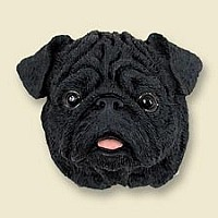 Pug Black Doogie Head