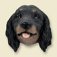 Dachshund Longhaired Black Doogie Head