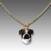 Boxer Brindle w/Uncropped Ears Tiny One Pendant