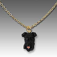Schnauzer Black w/Uncropped Ears Tiny One Pendant