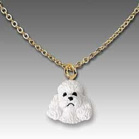 Poodle White w/Sport Cut Tiny One Pendant