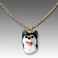 Husky Black & White w/Brown Eyes Tiny One Pendant