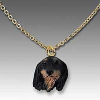 Dachshund Longhaired Black Tiny One Pendant