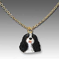 Cavalier King Charles Spaniel Black & White Tiny One Pendant