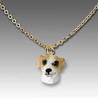 Whippet Tan & White Tiny One Pendant