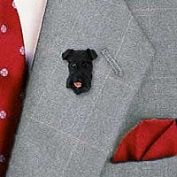 Schnauzer Black w/Uncropped Ears Pin