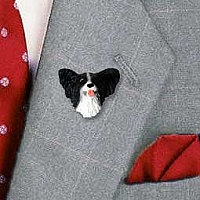 Papillon Black & White Pin