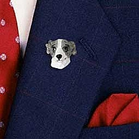 Whippet Gray & White Pin