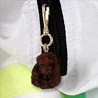Poodle Chocolate Zipper Charm