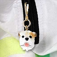 Bulldog White Zipper Charm