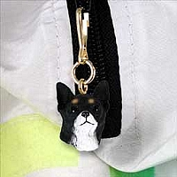 Chihuahua Black & White Zipper Charm