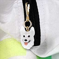 German Shepherd White Zipper Charm