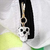 Great Dane Harlequin Uncropped Zipper Charm