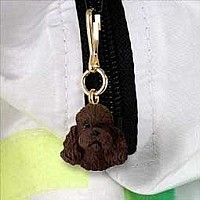 Poodle Chocolate w/Sport Cut Zipper Charm
