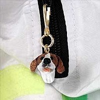 Pointer Brown & White Zipper Charm