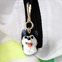 Husky Black & White w/Brown Eyes Zipper Charm