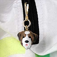 Saint Bernard w/Smooth Coat Zipper Charm