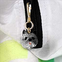 Cairn Terrier Gray Zipper Charm
