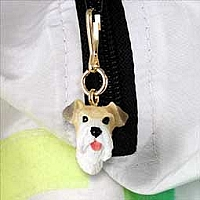 Wire Fox Terrier Red Zipper Charm