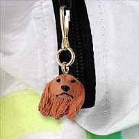 Dachshund Longhaired Red Zipper Charm