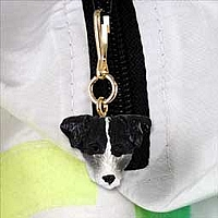 Jack Russell Terrier Black & White w/Rough Coat Zipper Charm