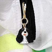Black & White Cavalier King Charles Zipper Charm
