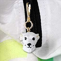 Whippet White Zipper Charm