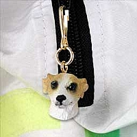 Whippet Tan & White Zipper Charm