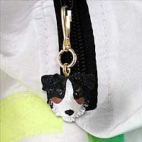 Australian Shepherd Tricolor w/Docked Tail Zipper Charm
