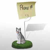 Husky Gray & White w/Brown Eyes Memo Holder