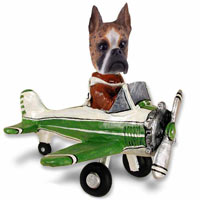 Boxer Brindle Airplane Doogie Collectable Figurine