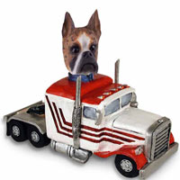 Boxer Brindle Truck Tractor Doogie Collectable Figurine
