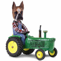 Boxer Brindle Tractor Doogie Collectable Figurine