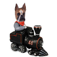 Boxer Brindle Train Doogie Collectable Figurine