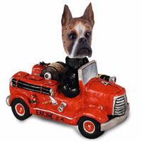 Boxer Brindle Fire Engine Doogie Collectable Figurine