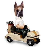 Boxer Brindle Golf Cart Doogie Collectable Figurine