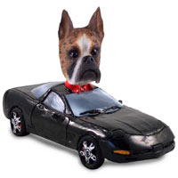 Boxer Brindle Sports Car Doogie Collectable Figurine
