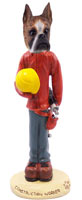 Boxer Brindle Construction Worker Doogie Collectable Figurine