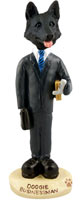 German Shepherd Black Businessman Doogie Collectable Figurine