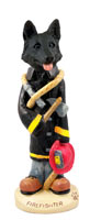 German Shepherd Black Fireman Doogie Collectable Figurine