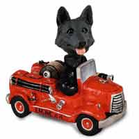 German Shepherd Black Fire Engine Doogie Collectable Figurine