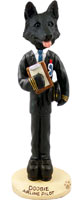 German Shepherd Black Airline Pilot Doogie Collectable Figurine