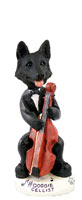 German Shepherd Black Cellist Doogie Collectable Figurine