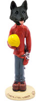 German Shepherd Black Construction Worker Doogie Collectable Figurine
