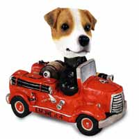 Jack Russell Terrier Fire Engine Doogie Collectable Figurine