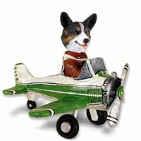 Welsh Corgi Cardigan Airplane Doogie Collectable Figurine